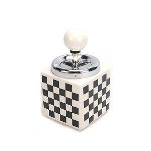 Cinzeiro de Cerâmica para Cigarro Quadrado - Preto e Branco