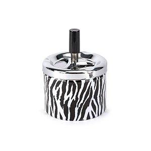 Cinzeiro de Alumínio com Tampa Giratória Redondo - Zebra