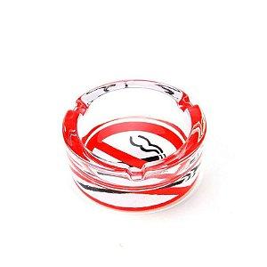 Cinzeiro de Vidro para Cigarro Redondo Pequeno - No Smoking