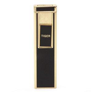Isqueiro Eletrônico Tiger Slide Slim - Preto/Dourado