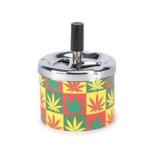 Cinzeiro de Alumínio com Tampa Giratória - Cannabis Colorido