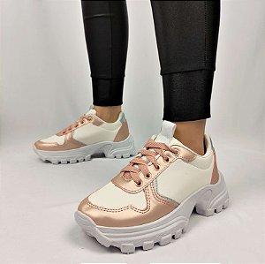 Tênis Chunky Sneaker Energy Branco com Rosê Gold