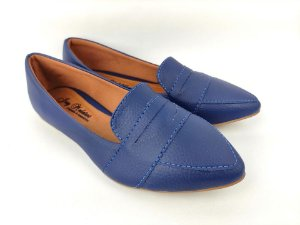 Sapatilha Slipper Azul Marinho com Faixa