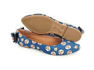Sapatilha Pet Cachorrinho Azul em Têxtil Estampada Laço Atrás