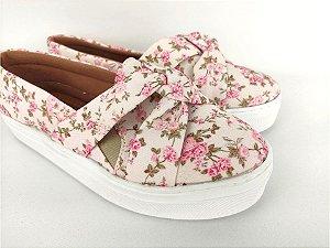 Tênis Slip On Iate Florido Rosa em Têxtil Estampado