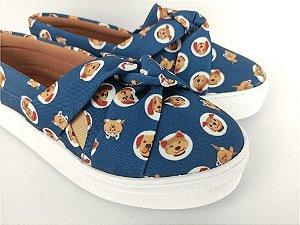 Tênis Slip On Pet Cachorrinho Azul em Têxtil Estampado