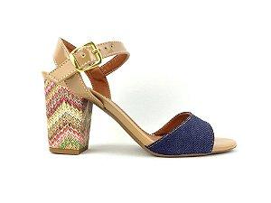 Sandália Jeans com Bege Salto Grosso Trabalhado Color 7 cm