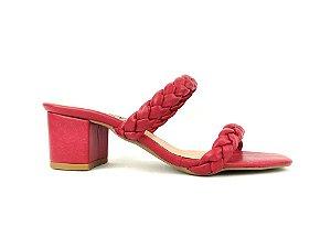 Sandália Tamanco Vermelha com Tiras Trançadas Salto Grosso Baixo 5 cm