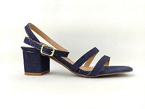 Sandália Jeans com Fivela Tornozelo Tiras Finas Salto Grosso Baixo 5 cm