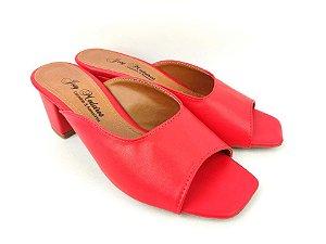 Sandália Tamanco Clássica Vermelha Salto Grosso Baixo 5 cm