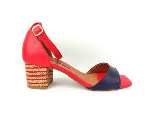 Sandália Vermelha com Azul Marinho Salto Grosso Baixo 5 cm