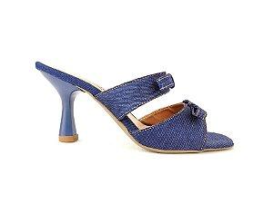 Sandália Tamanco Jeans com Lacinho Salto Taça 7 cm