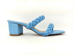 Sandália Tamanco Azul Bebê Candy com Tiras Trançadas Tressê Salto Grosso Baixo 5 cm