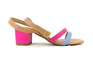 Sandália Candy Colors Nude com Tiras Tornozelo Salto Grosso Baixo Rosa 5 cm