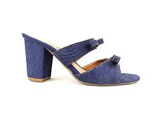Sandália Tamanco Jeans com Lacinho Salto Grosso 7 cm