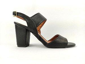 Sandália Preta com Fivela Salto Grosso 7 cm