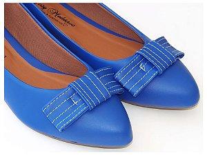 Sapatilha Azul Laço Quadrado Bico Fino