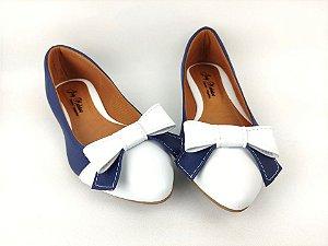 Sapatilha Azul Com Branco Laço Grande Bico Fino
