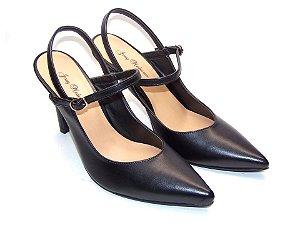 Scarpin Chanel Preto Salto e Bico Fino