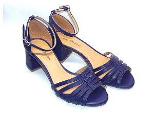 Sandália Azul com Tiras Salto Grosso