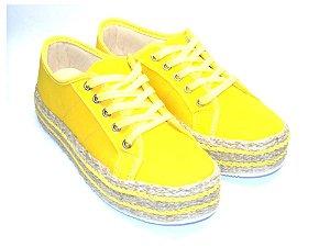 Tênis Amarelo em Tecido Flatform em Cortiça