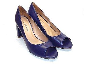 Peep Toe Azul Clássico com Salto Grosso