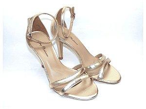 Sandália Dourada Salto Fino com Duas Tiras