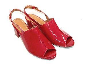 Sandália Chanel Vermelho em Verniz Salto Grosso