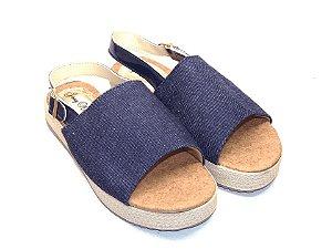Sandália Flatform Jeans com Fivela Atrás