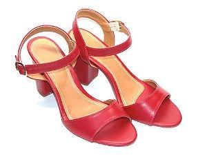 Sandália Vermelha Salto Grosso