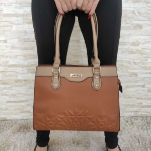 Bolsa Grande Caramelo com Bege Desenhada Chic