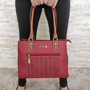 Bolsa Grande Vermelha com Alça Caramelo e Zíper Frontal