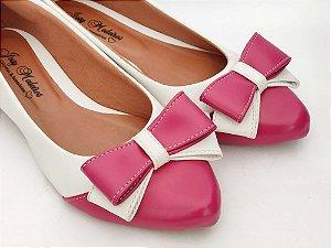 Sapatilha Branca com Rosa Pink Laço Duas Cores