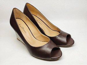 Anabela Peep Toe Marrom 8 cm