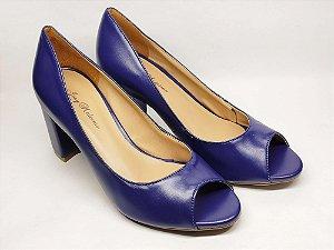 Peep Toe Azul Fosco Salto Alto Grosso 8 cm