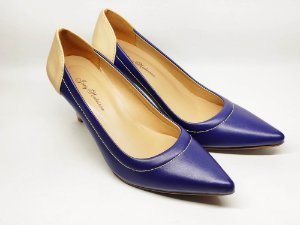 Scarpin Azul com Nude Salto Alto Fino 7 cm