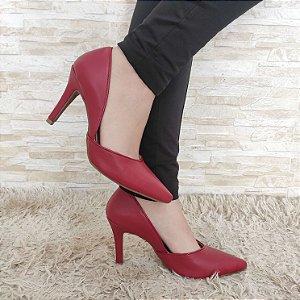 Scarpin Vermelho com Recorte Salto Alto Fino 9 cm