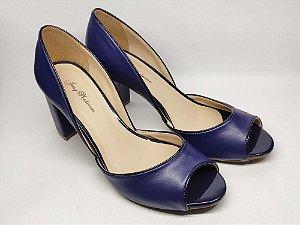 Peep Toe Azul com Recorte Salto Grosso 7 cm