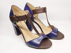 Sandália Marrom com Azul Luxo Salto Alto Grosso 9 cm