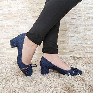 Sapato Boneca Jeans com Laço Salto Baixo 5 cm
