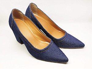 Scarpin Jeans Conforto Salto Grosso 8 cm
