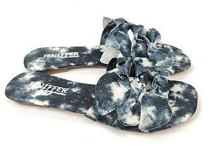 Rasteirinha com Lacinhos em Tecido Tie Dye Preto - 3 Pares por 99,90
