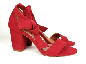 Sandália Suede Vermelha Salto 7 cm c/ Amarração