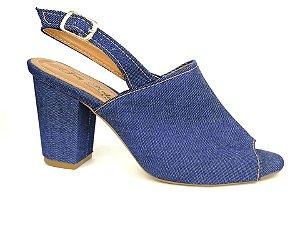 Sandália Aberta Jeans Salto 8 cm Chanel