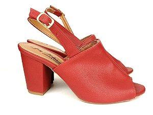 Sandália Aberta Vermelha Salto 8 cm Chanel