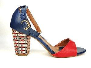 Sandália Azul Marinho com Vermelho Salto Colorido 7 cm