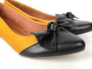 Sapatilha Amarela Mostarda com Preto Laço Nó