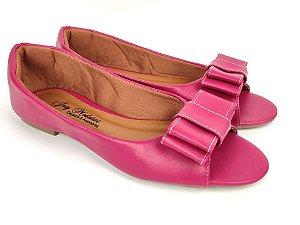 Peep Toe Rosa Pink Laço Grande