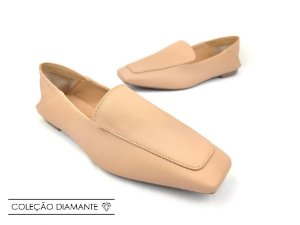 Mocassim Mule Soft Flex Nude Antique Bico Quadrado