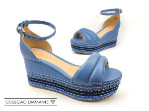 Sandália Soft Azul Safira Flatform Tricot Acolchoada 8 cm